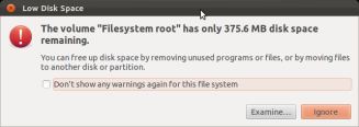 root file store device out of space warning
