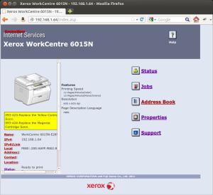 Printer's web page
