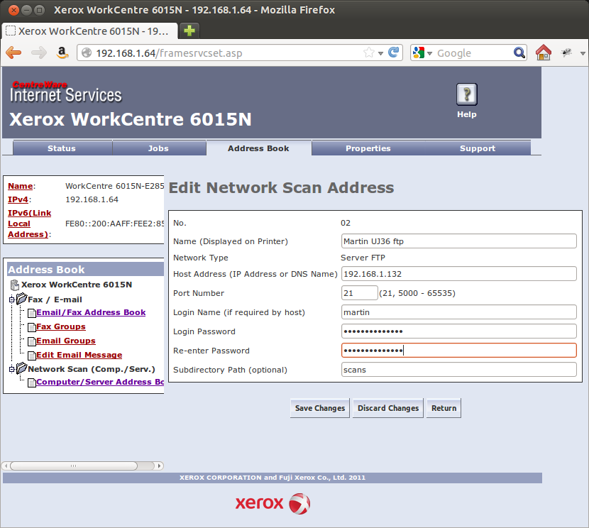 Scanning from a Xerox Workcentre 6015N under Ubuntu 12 04