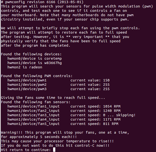 Fancontrol under Ubuntu 14 04 – resolving /usr/sbin/pwmconfig: There